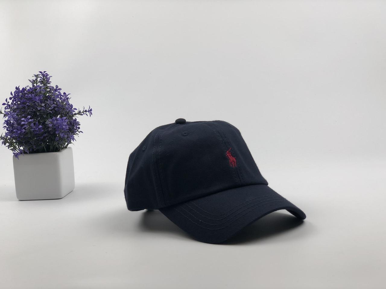 Кепка Бейсболка Мужская Женская Polo Ralph Lauren с тканевым ремешком Темно-Синяя с Красным лого