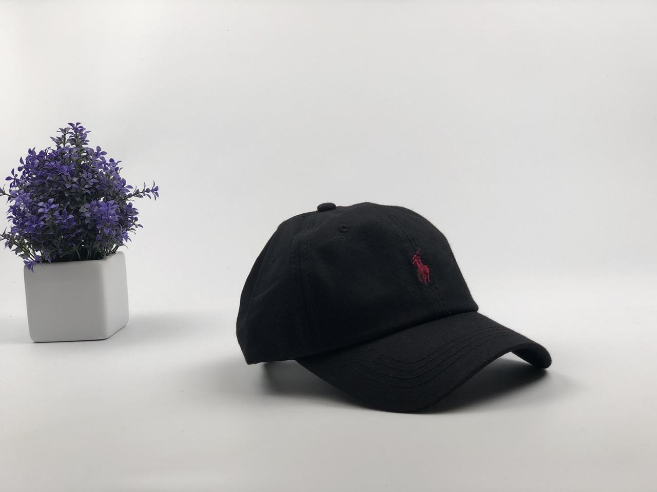 Кепка Бейсболка Мужская Женская Polo Ralph Lauren с тканевым ремешком Черная с Красным лого