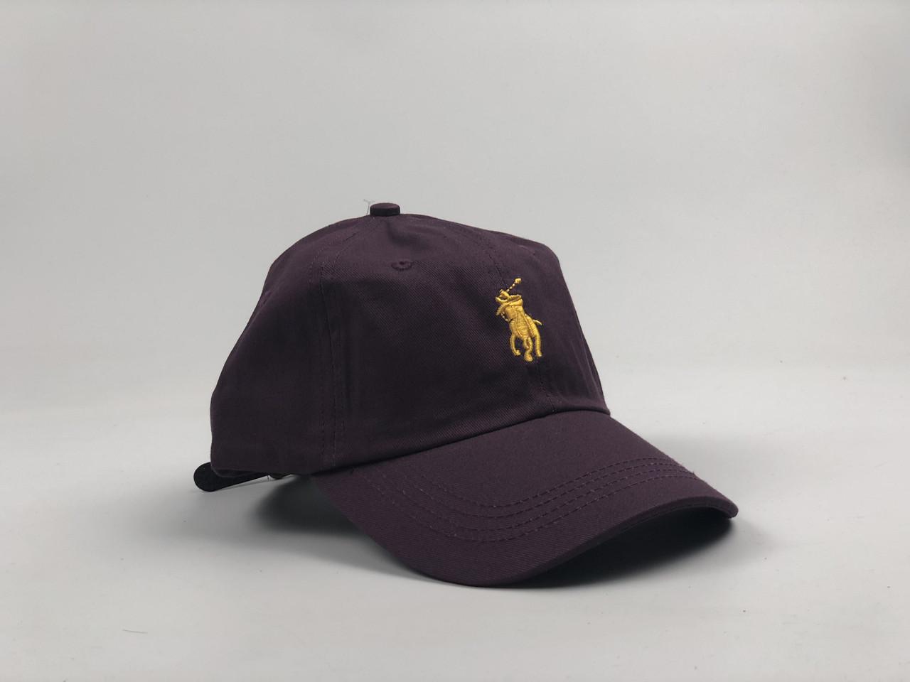 Кепка Бейсболка Мужская Женская Polo Ralph Lauren с кожаным ремешком Фиолетовая с Желтым лого