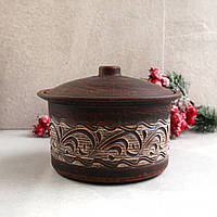 Кастрюля керамическая из красной глины 1,8л резная, украинская керамика