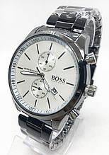 Мужские наручные часы BOSS (Босс), черные с белым циферблатом ( код: IBW545BO )