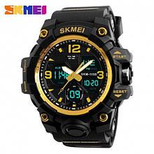 Мужские спортивные водостойкие часы SKMEI (Скмей), черный с оранжевым