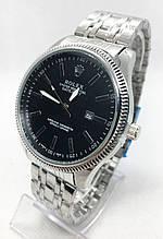 Мужские наручные часы Rolex (Ролекс), серебро с черным циферблатом ( код: IBW549SB )