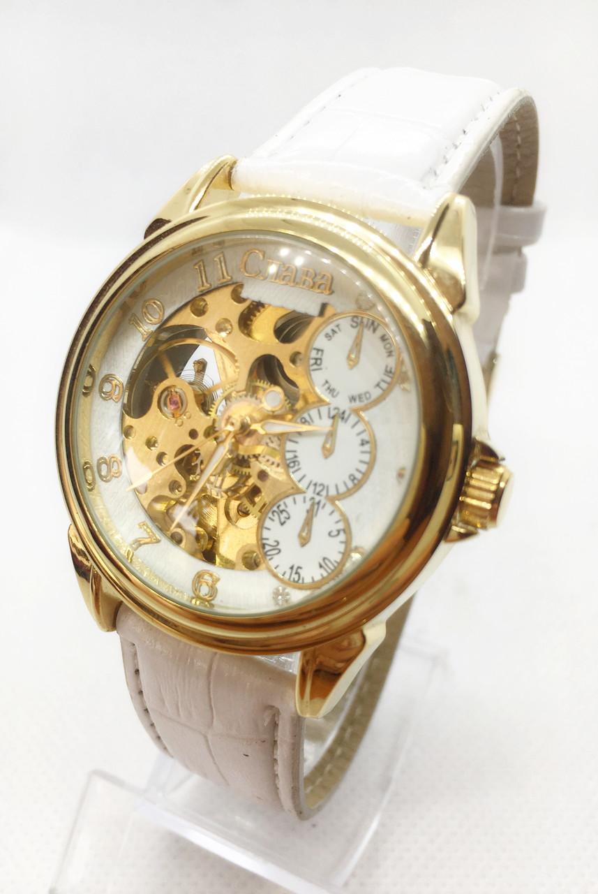 Механические наручные часы Слава, золото с белым ремешком ( код: IBW474YO )