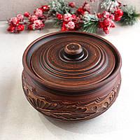 Колбасник с крышкой керамический из красной глины 1,5 л резной, украинская керамика, фото 1