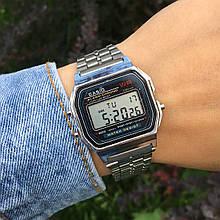 Мужские наручные электронные часы CASIO (Касио), серебро с черным циферблатом