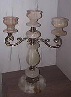 Старинный канделябр на три свечи, оникс, винтаж, Франция