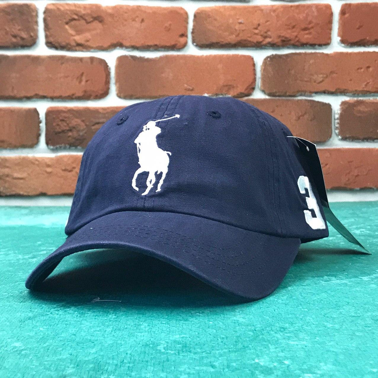 Кепка Бейсболка Мужская Женская Polo Ralph Lauren 3 с тканевым ремешком Темно-Синяя с Белым лого