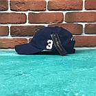 Кепка Бейсболка Мужская Женская Polo Ralph Lauren 3 с тканевым ремешком Темно-Синяя с Белым лого, фото 2