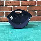 Кепка Бейсболка Мужская Женская Polo Ralph Lauren 3 с тканевым ремешком Темно-Синяя с Белым лого, фото 3