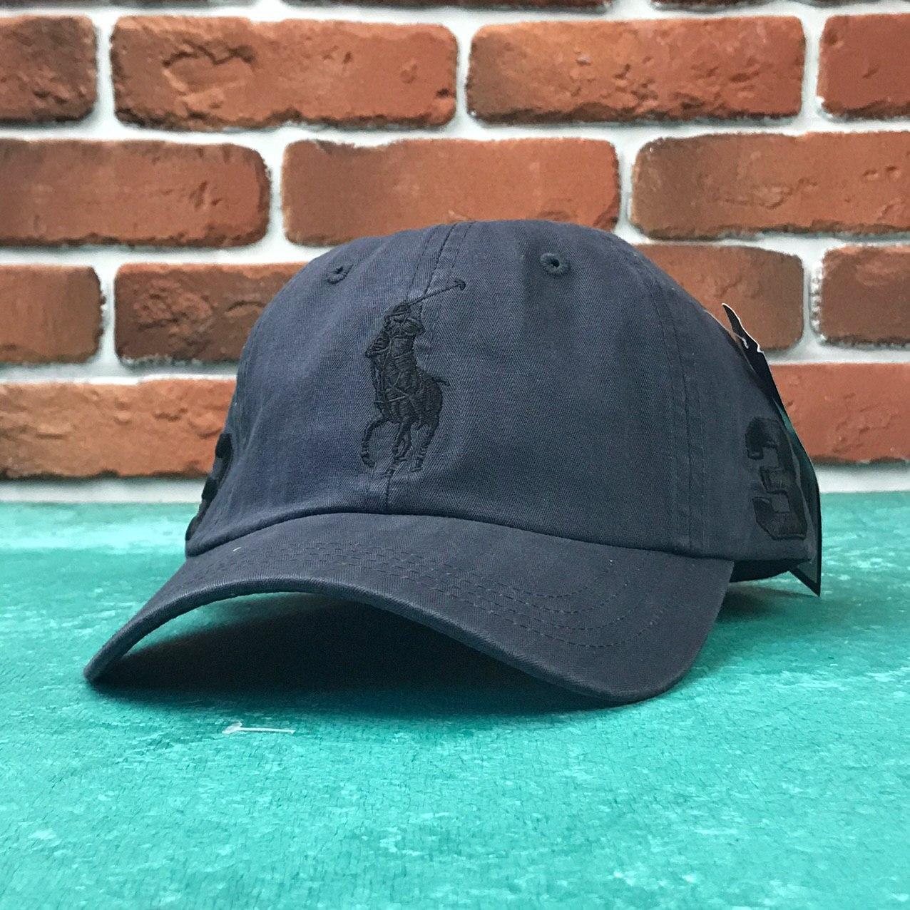 Кепка Бейсболка Мужская Женская Polo Ralph Lauren 3 с тканевым ремешком Темно-Синяя с Черным лого