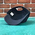 Кепка Бейсболка Мужская Женская Polo Ralph Lauren 3 с тканевым ремешком Темно-Синяя с Черным лого, фото 3