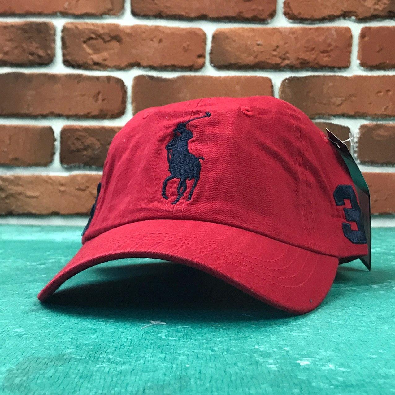 Кепка Бейсболка Мужская Женская Polo Ralph Lauren 3 с тканевым ремешком Красная с большим Синим лого
