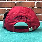 Кепка Бейсболка Мужская Женская Polo Ralph Lauren 3 с тканевым ремешком Красная с большим Синим лого, фото 4