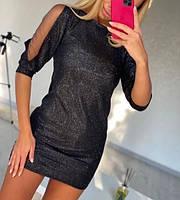 Женское облегающее платье мини из люрекса, фото 1