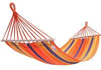 Гамак тканевый подвесной с деревянными перекладинами для сада, пикника, отдыха KingCamp Canvas Нammock(orange)