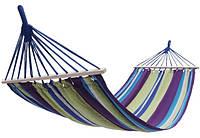Гамак тканевый подвесной с деревянными перекладинами для сада, пикника KingCamp Canvas Нammock(purple yellow)