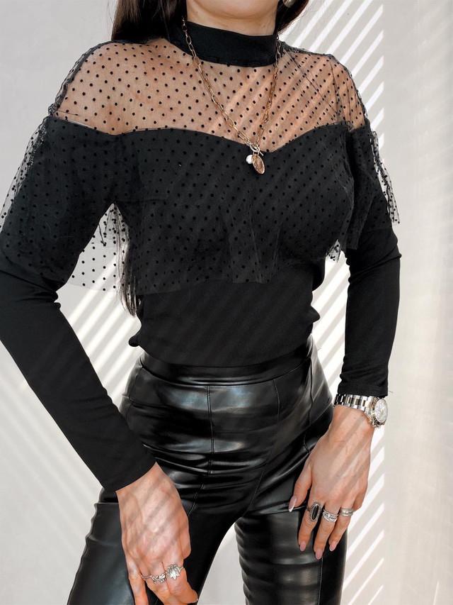Жіноча красива блузка під горло зі вставкою із сітки в горошок