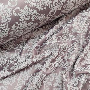 Ткань сатин с рисунком, дамаск белый на светло-бордовом (ТУРЦИЯ шир. 2,4 м) Отрез(1*2,4м)