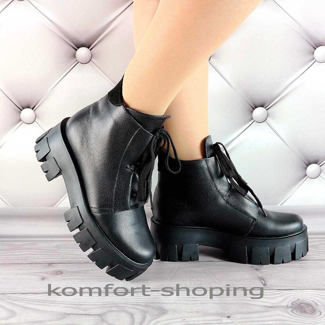 Зимние ботинки женские черные кожаные   V 1335