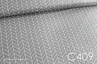 Ткань сатин Геометрия средняя на сером