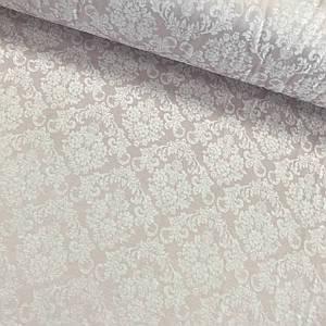Сатин-жаккард для постельного белья  (ТУРЦИЯ шир. 2,4 м) дамаск розовый Отрез(0,8*2,4м)