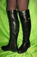 Ботфорты зимние кожаные на ровной подошве