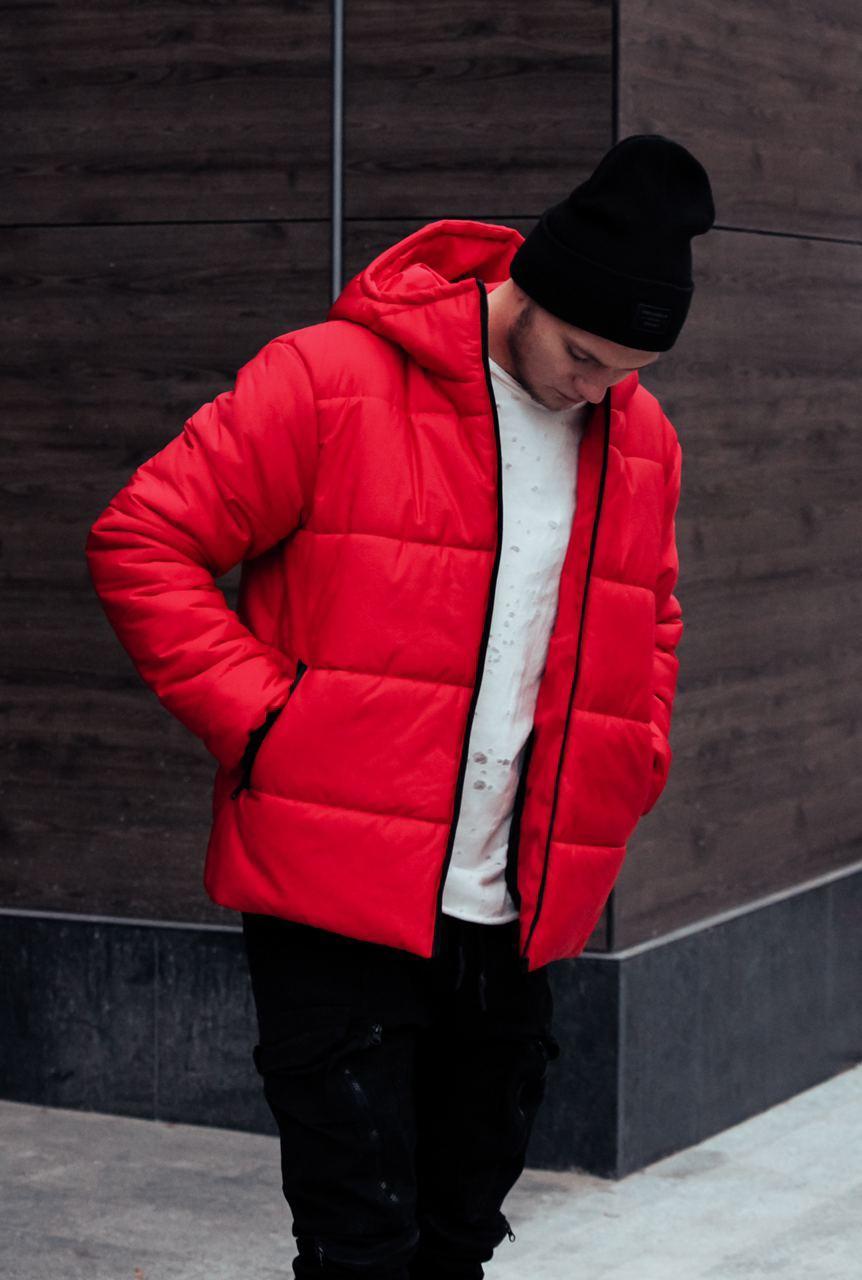 Пуховик - Мужская куртка из экокожы зимняя красная