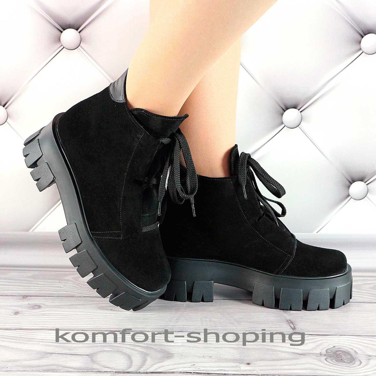 Зимние ботинки женские черные замшевые   V 1335