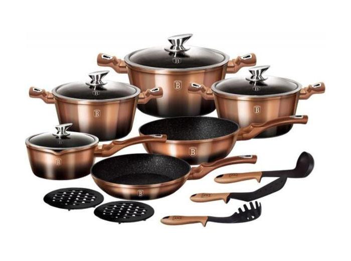 Большой набор кухонной посуды Berlinger Haus Rose Gold Noir 15пр