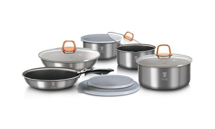 Набор посуды без ручек светло-серый Berlinger Haus Moonlight 12пр