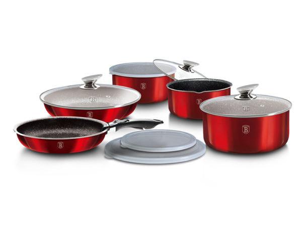 Набір посуду зі знімними ручками червоний Berlinger Haus Red Metallic 12пр