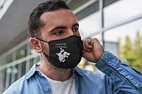 Черная мужская многоразовая маска с надписью Winter coming в шапке