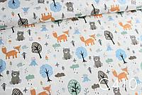 Ткань сатин Мишки и лисы