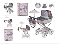 Коляска детская для кукол DeCuevas 82031 (90*40*90) Серый цвет сумка+зонт