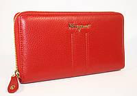 Кошелек кожаный на молнии Salvatore Ferragamo 4388 красный  в наличии
