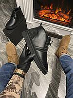 Мужские кожаные зимние УГГи со шнурками, комфортные UGG для мужчин теплые, чорные