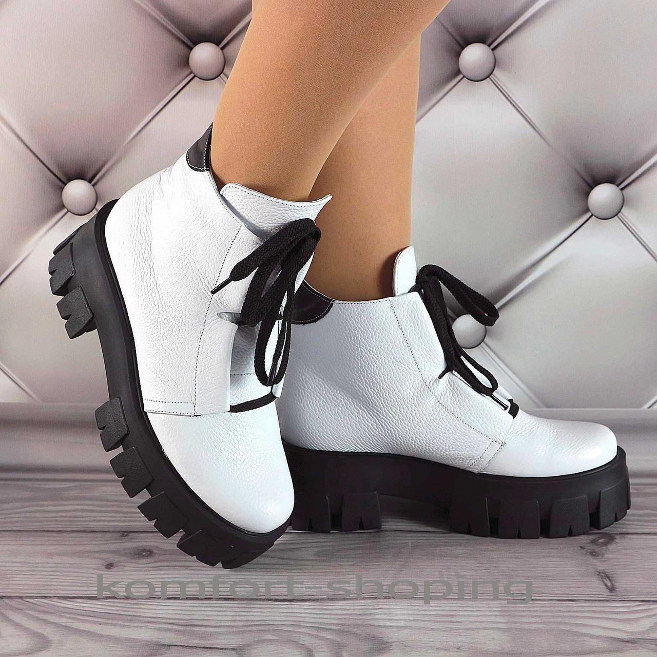 Зимние ботинки женские белые кожаные   V 1335