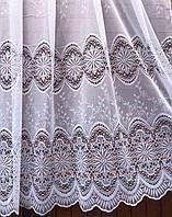 Тюль готовая пошитая с тесьмой с тройным кружевом Шампань 165х200 код 01488, фото 1