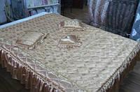 Покрывало 160х200, 3 оборки , 2 подушки + сердечко