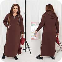Зимние теплое длинное платье шоколад с капюшоном (6 цветов) НФ/-16399