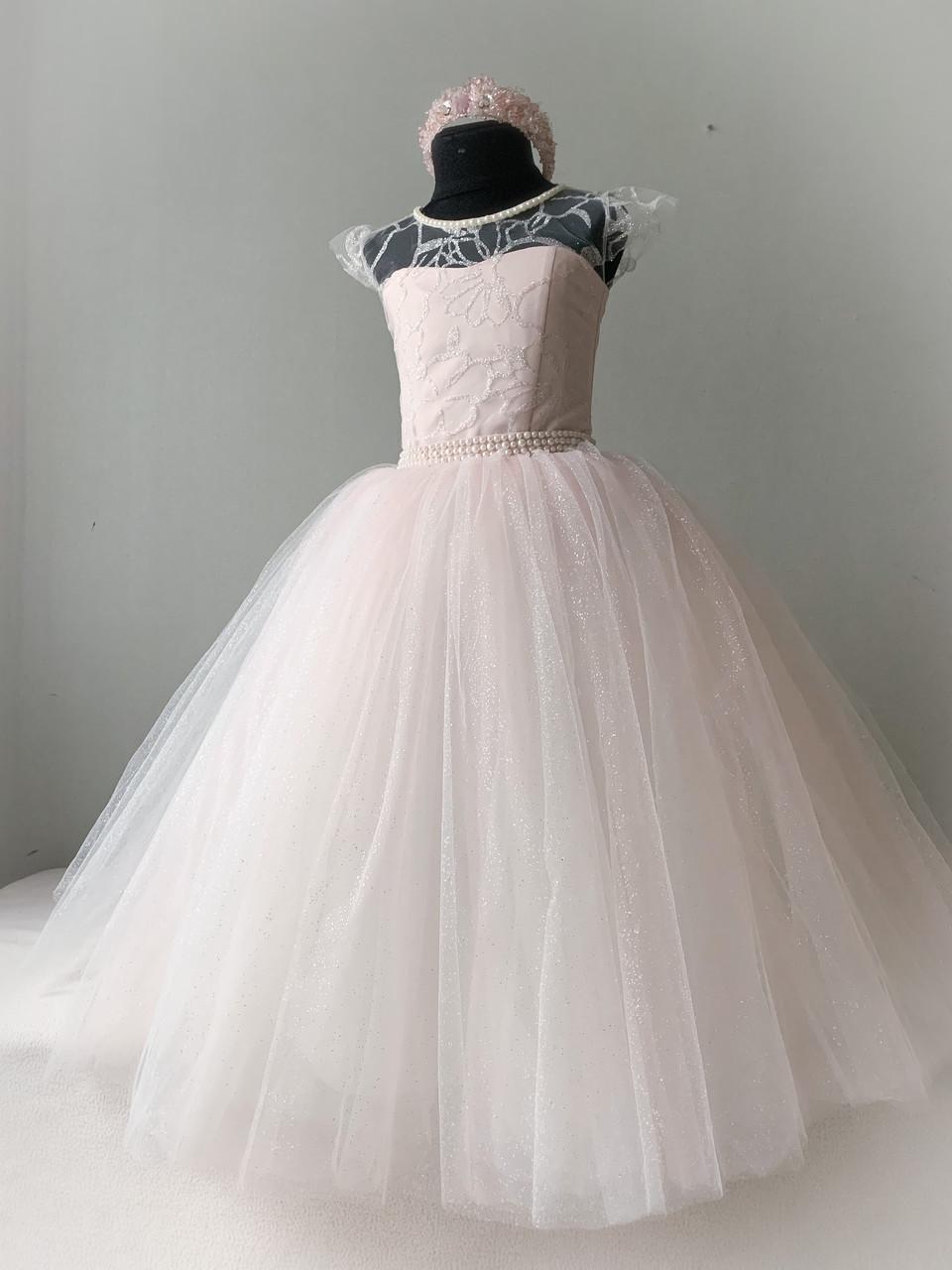 Праздничное платье на рост 116-122 пудровый цвет с блеском