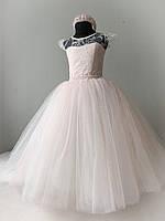 Праздничное платье на рост 116-122 пудровый цвет с блеском, фото 1
