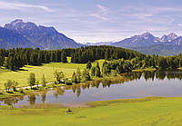 Фотообои виниловые 3D 416x254 см Озеро, лес и горы 12095WVZXXXL