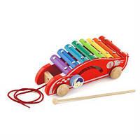 Деревянный ксилофон-каталка Viga Toys Спорткар (50341), фото 1