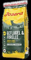 Полнорационный корм для спортивных собак JOSERA Geflügel & Forelle без зерновых (15 кг.)