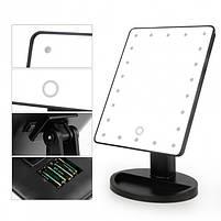 Зеркальце с подсветкой для макияжа Led mirror белое от microUSB или батареек Зеркало настольное черное, фото 2