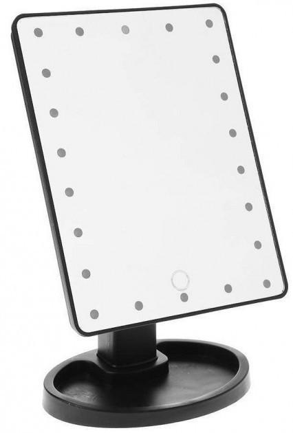 Зеркальце с подсветкой для макияжа Led mirror белое от microUSB или батареек Зеркало настольное черное