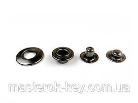 Кнопка металлическая с отверстием 20мм цвет темный-никель (50 шт в упаковке)