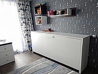 Горизонтальная кровать с комодом и полками, фото 1